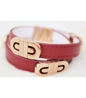 Bvlgari Parentesi Bracelet in 18kt Pink Gold With Red Leather