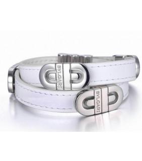 Bvlgari Parentesi Bracelet in Steel With White Leather