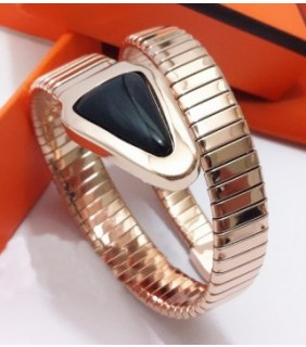 BVLGARI BULGARI Pendant with Chain in 18kt Pink Gold with Black Onyx and Pave Diamonds