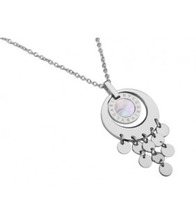 Bvlgari Pendant with a Chain in 18kt White Gold with Mother of Pearl