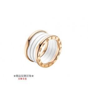 Bvlgari B.ZERO1 3-Band Ring in 18kt Pink Gold with White Ceramic