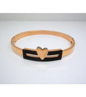 Designer Cartier Heart Bracelet in 18kt Pink Gold with Black Marble