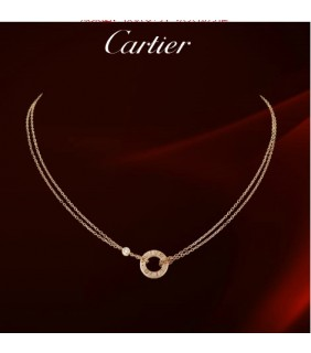 Cartier LOVE Circle Necklace, 18K Pink Gold With Diamonds