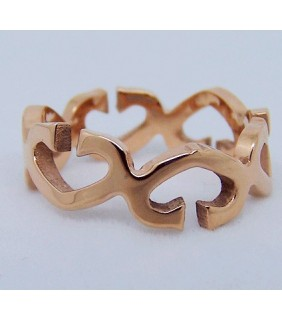 Inspired Cartier C Ring, Pink Gold with Diamonds-Paved