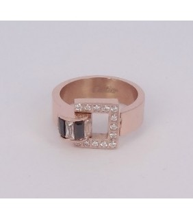Inspired Cartier C Ring, Yellow Gold with Diamonds-Paved