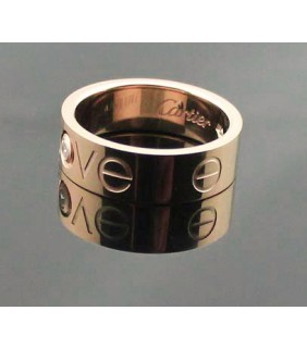 Cartier 18K White Gold Ring Set With 3 Diamonds Wedding Band Ring