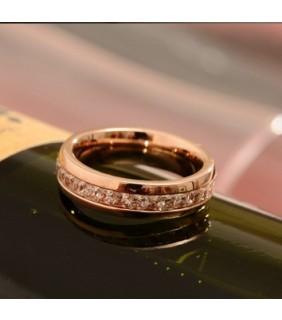 Cartier 18k Pink Gold Wedding Band Set with 2 Row Baguette-Cut Diamonds