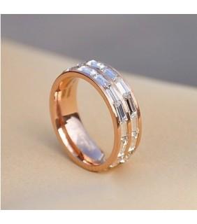 Cartier 18k Pink Gold Wedding Band Set with 3 Row Baguette-Cut Diamonds
