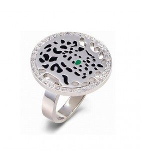 Cartier Panthere Ring in 18K White Gold Set with Diamonds, One Tsavorite Garnet Eye and Black Lacquer Spots