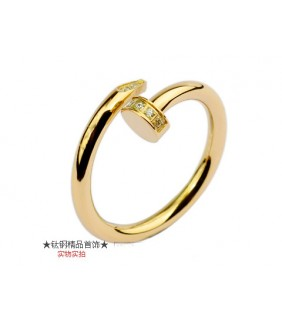 Cartier Juste Un Clou Ring in 18kt Yellow Gold With Diamond-Paved