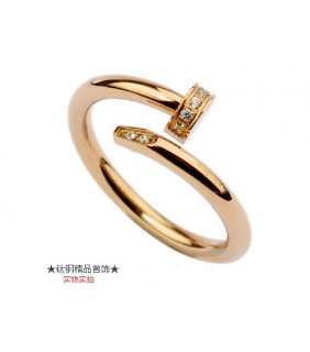 Cartier Juste Un Clou Ring in 18kt Pink Gold With Diamond-Paved
