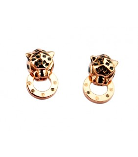 Cartier Panthere Earrings in 18kt Pink Gold with Black Lacquer and Diamonds