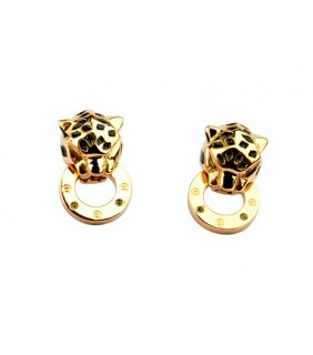Cartier Panthere Earrings in 18kt Yellow Gold with Black Lacquer and Diamonds