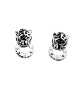 Cartier Panthere Earrings in 18kt  White Gold with Black Lacquer and Diamonds