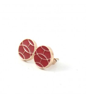 Replica Hermes Earring, Red with Pink Gold