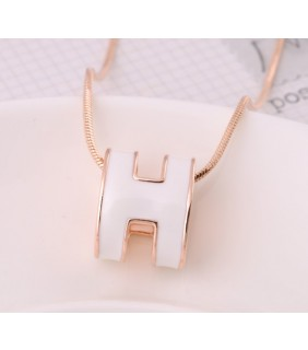 "Hermes 3D ""H"" logo Snake Bone Necklace, White ""H"" & Pink Gold Charm"