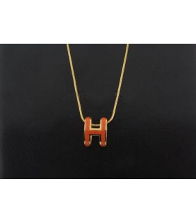 "Hermes 3D ""H"" logo Snake Bone Necklace, Orange ""H"" & Pink Gold Charm"