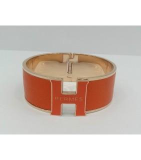 """Hermes """"H"""" Logo Bangle, Orange with 18k Rose Gold"""