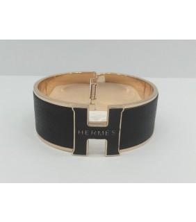 """Hermes """"H"""" Logo Bangle, Black with 18k Rose Gold"""