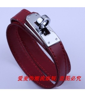 Classic Hermes Red Leather Bracelets With White Gold Turn Buckle