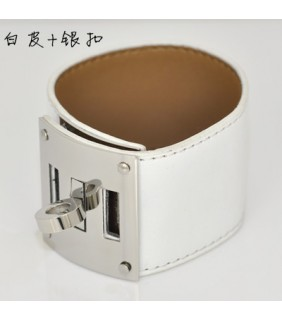 Hermes White Leather Bracelets With White Gold Turn Buckle, Wide
