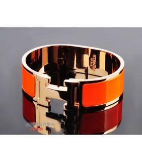 Hermes LOGO Bangle Orange Color With Pink Gold, Wide