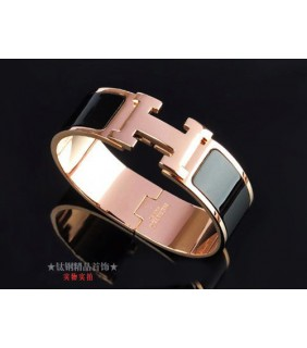 Hermes LOGO Bangle Black Color With Pink Gold, Wide