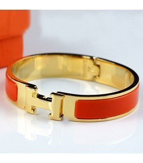 Classic Hermes LOGO Bangle Orange Color With 18K Yellow Gold
