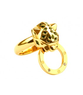 Cartier Panthere Ring in 18kt Yellow Gold with Black Lacquer and Diamonds