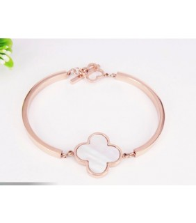 Van Cleef & Arpels Sweet Alhambra Clover Bracelet, Pink Gold with White Mother of Pearl