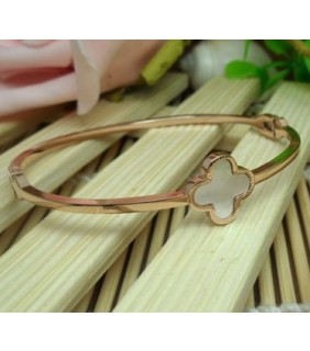 Van Cleef & Arpels Vintage Alhambra Bracelet, Pink Gold with White Mother of Pearl