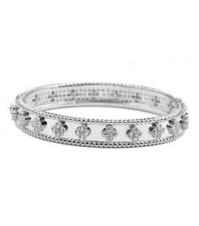 Van Cleef & Arpels Perlee Clover Bracelet in 18kt White Gold with Diamonds