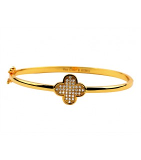 Van Cleef & Arpels Perlee Bracelet/Bangle in 18kt Yellow Gold with Pave Diamonds