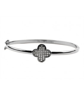 Van Cleef & Arpels Perlee Bracelet/Bangle in 18kt White Gold with Pave Diamonds