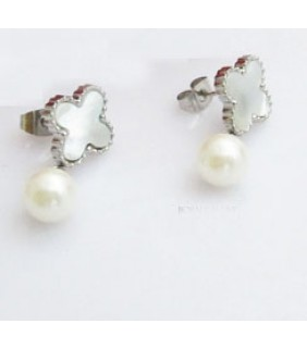 Van Cleef & Arpels Sweet Alhambra Clover Mini Earrings in White Gold with Mother of Pearl