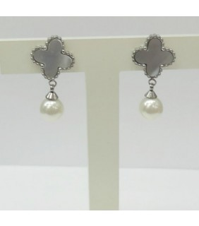 Van Cleef & Arpels Sweet Alhambra Clover Mini Earrings in White Gold with Grey Mother of Pearl