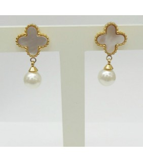 Van Cleef & Arpels Sweet Alhambra Clover Mini Earrings in Yellow Gold with Mother of Pearl