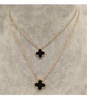 Van Cleef & Arpels Vintage Alhambra Long Necklace in Pink Gold with Black Onyx, 2 Motifs