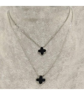 Van Cleef & Arpels Vintage Alhambra Long Necklace in White Gold with Black Onyx, 2 Motifs
