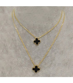 Van Cleef & Arpels Vintage Alhambra Long Necklace in Yellow Gold with Black Onyx, 2 Motifs