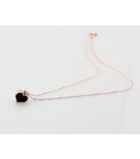 Van Cleef & Arpels Sweet Alhambra Heart Charm Necklace in Pink Gold with Black Onyx