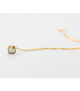 Van Cleef & Arpels Sweet Alhambra Heart Charm Necklace in Yellow Gold with Mother of Pearl