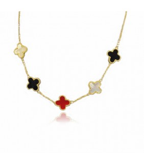 Van Cleef & Arpels Vintage Alhambra Necklace, Yellow Gold with Color Covers, 5 Motifs