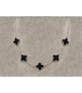 Van Cleef & Arpels Vintage Alhambra Necklace, White Gold with Black Onyx, 5 Motifs