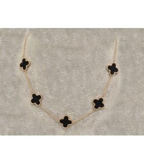 Van Cleef & Arpels Vintage Alhambra Necklace, Pink Gold with Black Onyx, 5 Motifs