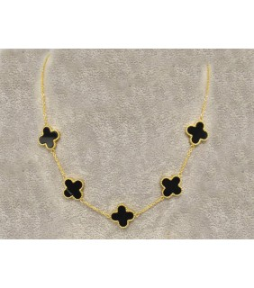 Van Cleef & Arpels Vintage Alhambra Necklace, Yellow Gold with Black Onyx, 5 Motifs