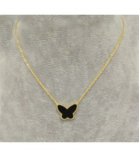 Van Cleef & Arpels Lucky Alhambra Butterfly Pendant in Yellow Gold with Black Onyx