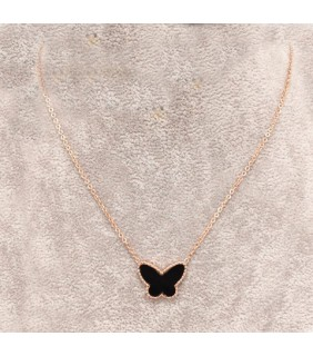 Van Cleef & Arpels Lucky Alhambra Butterfly Pendant in Pink Gold with Black Onyx