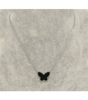 Van Cleef & Arpels Lucky Alhambra Butterfly Pendant in White Gold with Black Onyx