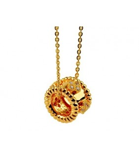 Van Cleef & Arpels Perlee Pendant with Diamond Motifs in 18kt Yellow Gold